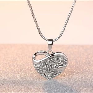 White Gold Full Filled Crystal Heart Necklace
